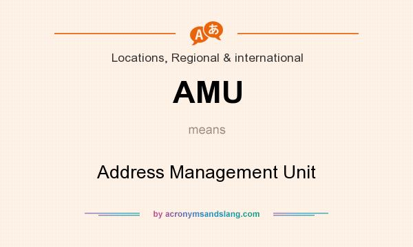 What does AMU mean? It stands for Address Management Unit