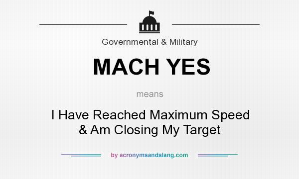 What does MACH YES mean? It stands for I Have Reached Maximum Speed & Am Closing My Target