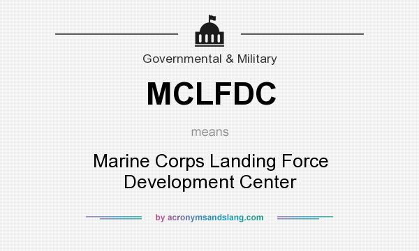 What does MCLFDC mean? It stands for Marine Corps Landing Force Development Center