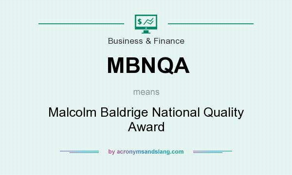 What does MBNQA mean? It stands for Malcolm Baldrige National Quality Award