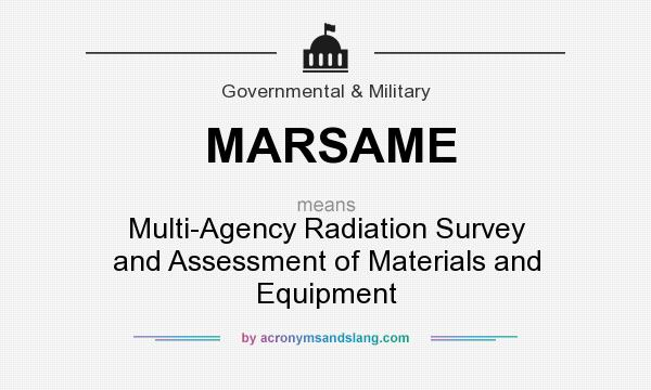 What does MARSAME mean? It stands for Multi-Agency Radiation Survey and Assessment of Materials and Equipment