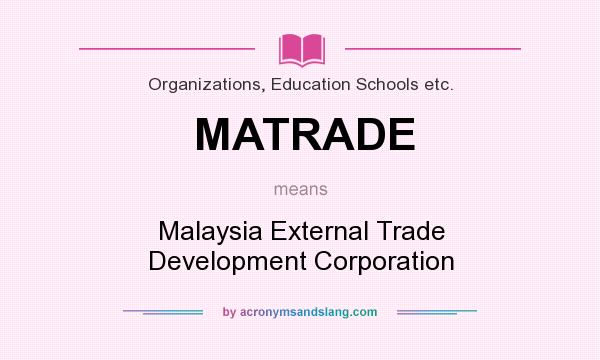 What does MATRADE mean? It stands for Malaysia External Trade Development Corporation