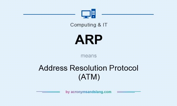 What does ARP mean? It stands for Address Resolution Protocol (ATM)