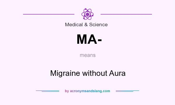 What does MA- mean? It stands for Migraine without Aura