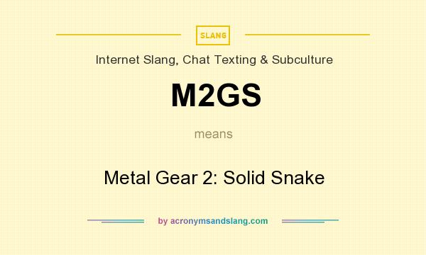What does M2GS mean? It stands for Metal Gear 2: Solid Snake