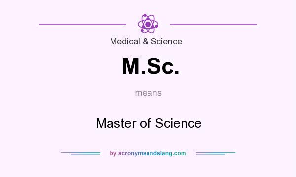 What does M.Sc. mean? It stands for Master of Science