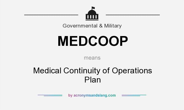 What does MEDCOOP mean? It stands for Medical Continuity of Operations Plan