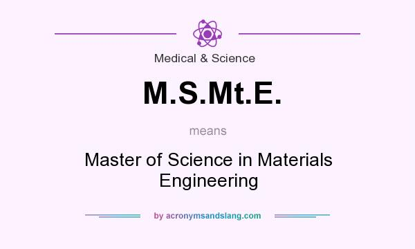 What does M.S.Mt.E. mean? It stands for Master of Science in Materials Engineering