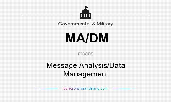What does MA/DM mean? It stands for Message Analysis/Data Management