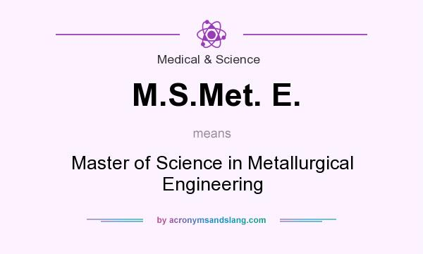 What does M.S.Met. E. mean? It stands for Master of Science in Metallurgical Engineering