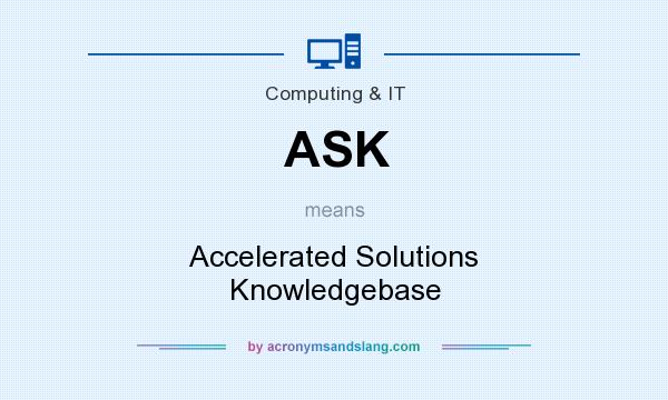 What does ASK mean? It stands for Accelerated Solutions Knowledgebase