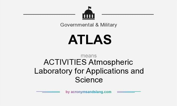 What does ATLAS mean? It stands for ACTIVITIES Atmospheric Laboratory for Applications and Science