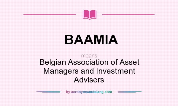 What does BAAMIA mean? It stands for Belgian Association of Asset Managers and Investment Advisers