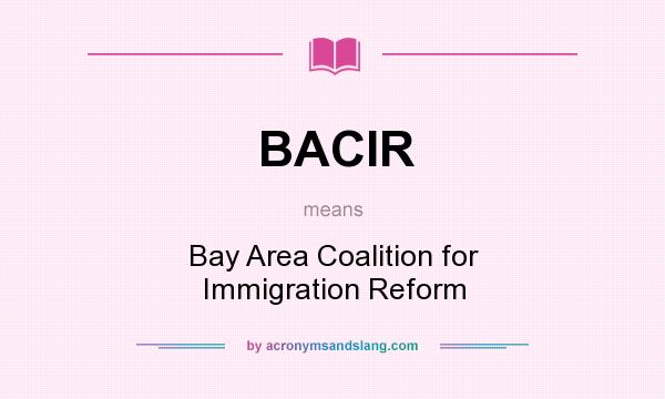 What does BACIR mean? It stands for Bay Area Coalition for Immigration Reform