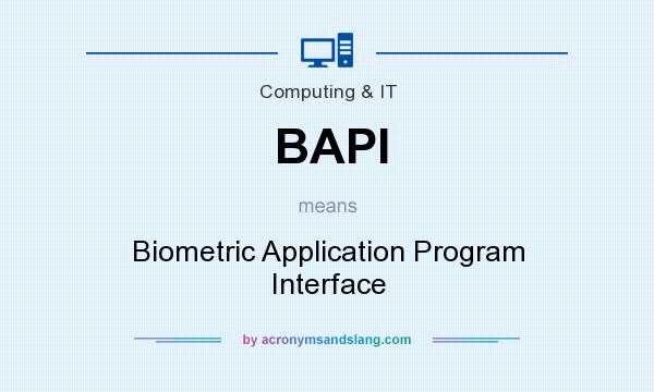 What does BAPI mean? It stands for Biometric Application Program Interface