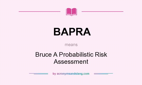 What does BAPRA mean? It stands for Bruce A Probabilistic Risk Assessment