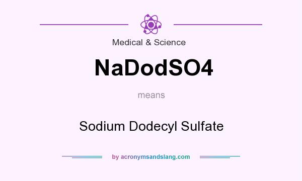What does NaDodSO4 mean? It stands for Sodium Dodecyl Sulfate