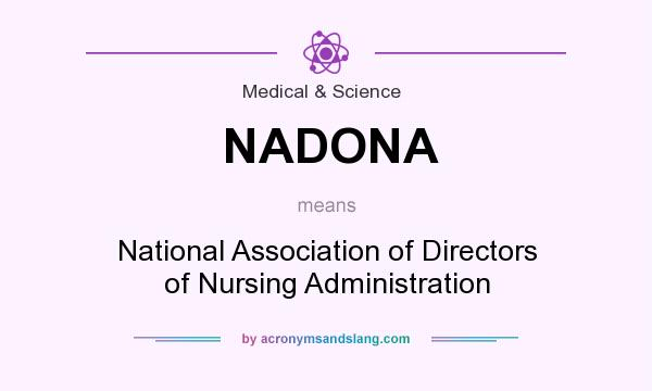 What does NADONA mean? It stands for National Association of Directors of Nursing Administration