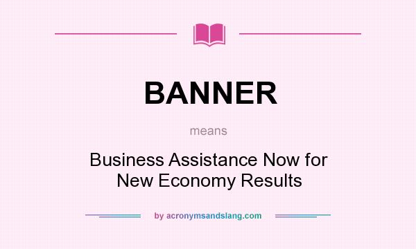 What does BANNER mean? It stands for Business Assistance Now for New Economy Results