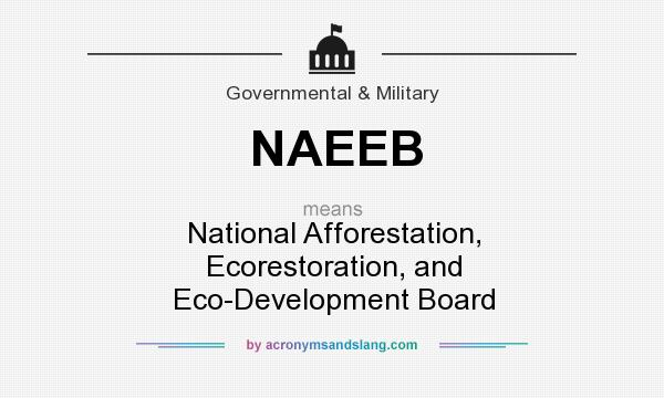 What does NAEEB mean? It stands for National Afforestation, Ecorestoration, and Eco-Development Board