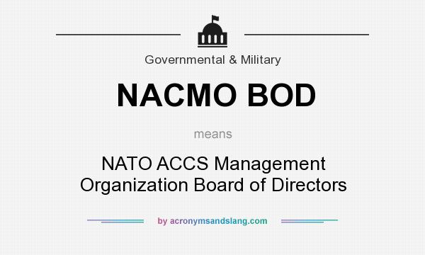 What does NACMO BOD mean? It stands for NATO ACCS Management Organization Board of Directors
