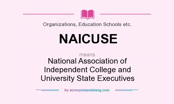 What does NAICUSE mean? It stands for National Association of Independent College and University State Executives