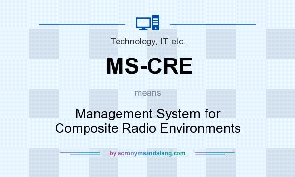 What does MS-CRE mean? It stands for Management System for Composite Radio Environments