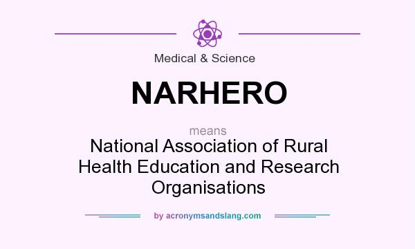 What does NARHERO mean? It stands for National Association of Rural Health Education and Research Organisations