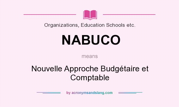 What does NABUCO mean? It stands for Nouvelle Approche Budgétaire et Comptable