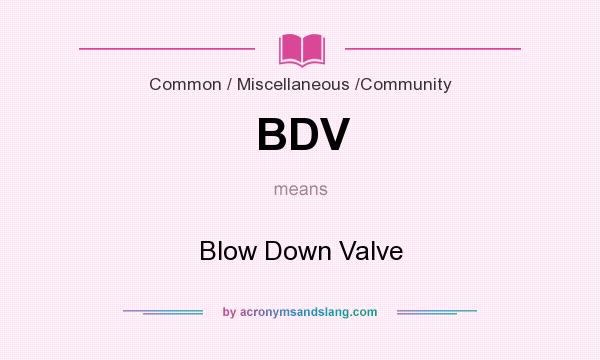 What does BDV mean? It stands for Blow Down Valve