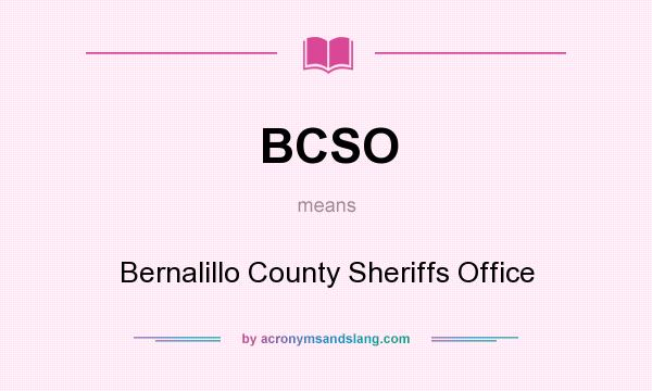 What does BCSO mean? It stands for Bernalillo County Sheriffs Office
