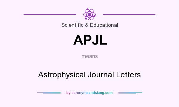 What does APJL mean? It stands for Astrophysical Journal Letters