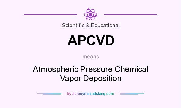 What does APCVD mean? It stands for Atmospheric Pressure Chemical Vapor Deposition