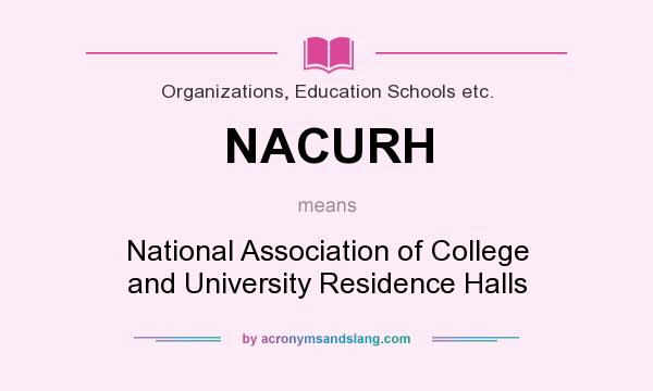 What does NACURH mean? It stands for National Association of College and University Residence Halls