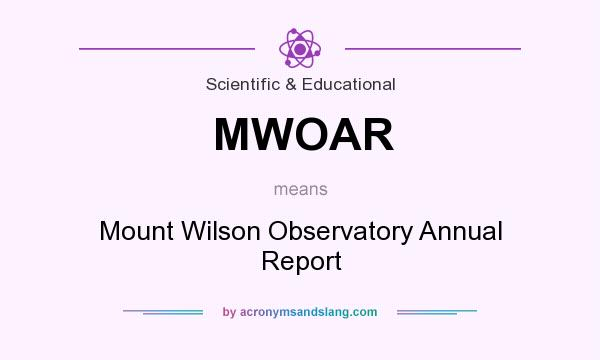 What does MWOAR mean? It stands for Mount Wilson Observatory Annual Report