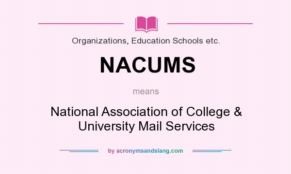 What does NACUMS mean? It stands for National Association of College & University Mail Services