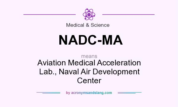 What does NADC-MA mean? It stands for Aviation Medical Acceleration Lab., Naval Air Development Center