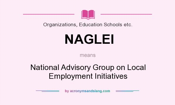 What does NAGLEI mean? It stands for National Advisory Group on Local Employment Initiatives