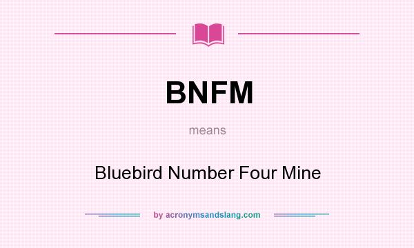 What does BNFM mean? It stands for Bluebird Number Four Mine