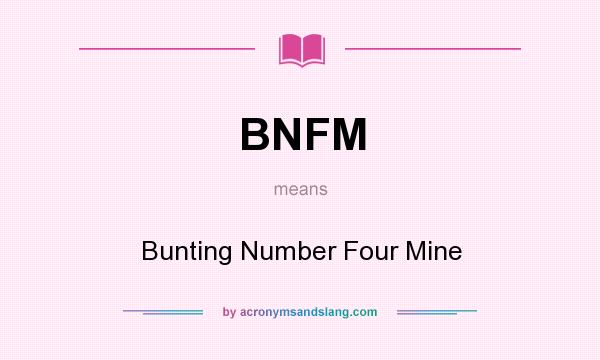 What does BNFM mean? It stands for Bunting Number Four Mine