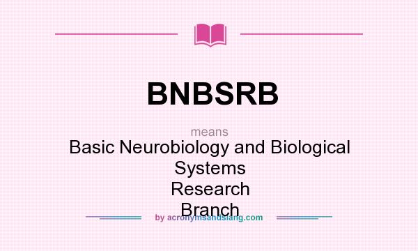 What does BNBSRB mean? It stands for Basic Neurobiology and Biological Systems Research Branch