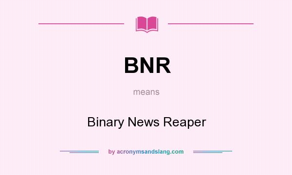 What does BNR mean? It stands for Binary News Reaper