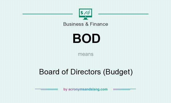 What does BOD mean? It stands for Board of Directors (Budget)