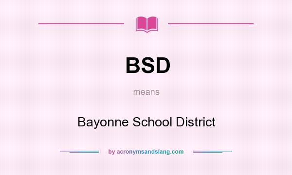 What does BSD mean? It stands for Bayonne School District