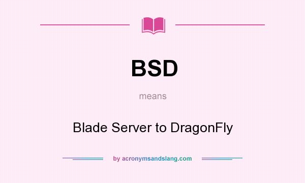 What does BSD mean? It stands for Blade Server to DragonFly