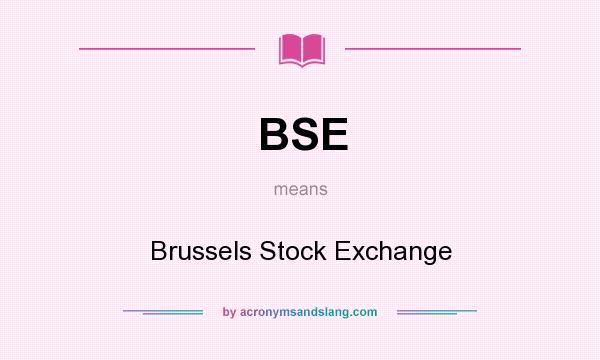 What does BSE mean? It stands for Brussels Stock Exchange
