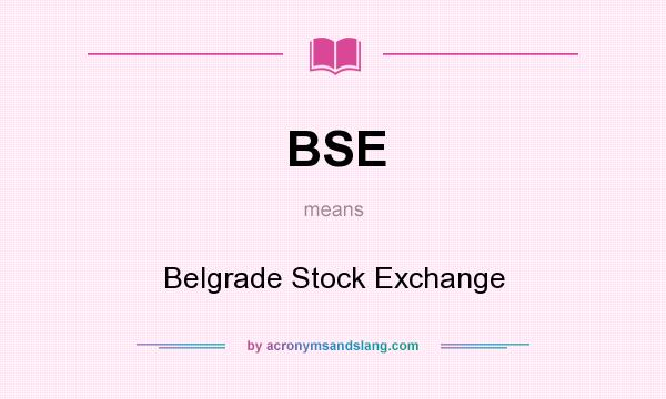 What does BSE mean? It stands for Belgrade Stock Exchange