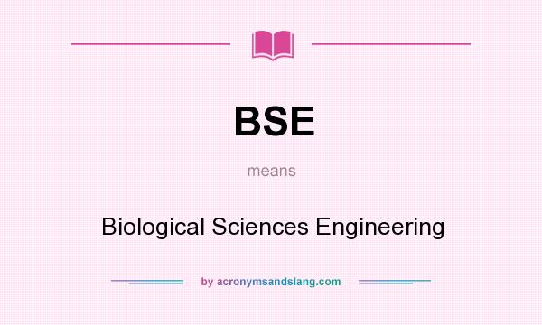 What does BSE mean? It stands for Biological Sciences Engineering