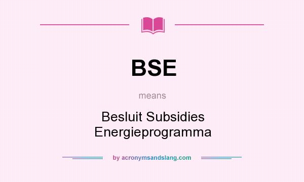 What does BSE mean? It stands for Besluit Subsidies Energieprogramma