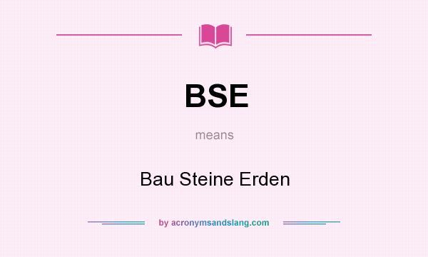 What does BSE mean? It stands for Bau Steine Erden